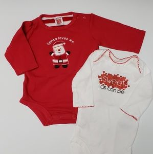 2 Carters Onesies - 3 Months - Holiday